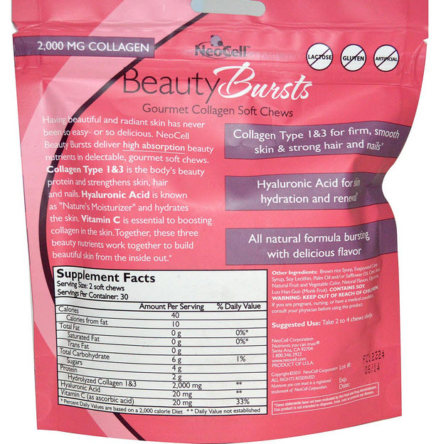 Neocell, Beauty Bursts, Gourmet Collagen Soft Chews, Super Fruit Punch, 60 Soft Chews